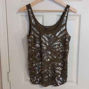 Green sequins tank, size m
